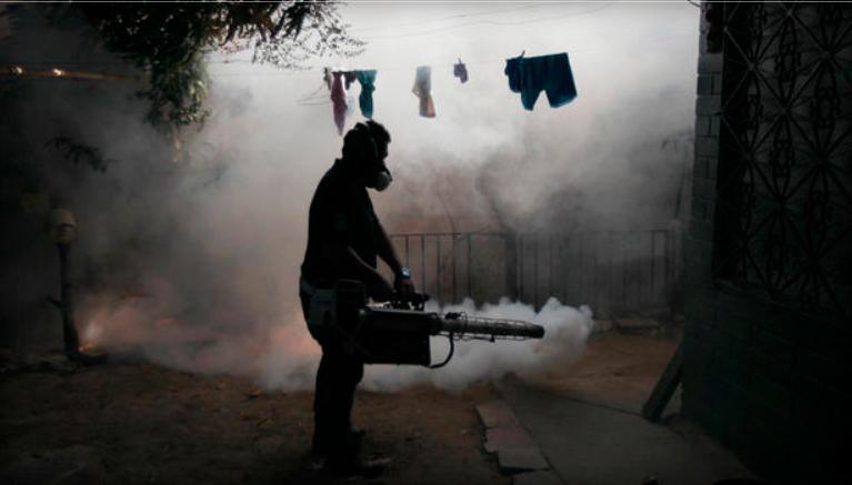 Ameriketako hainbat herrialdek sufritu du zika birusaren . Argazkian, fumigatze lanak El Salvadorreko