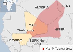 Tuaregak bizi diren eremua gorriz margotuta dago mapa honetan.