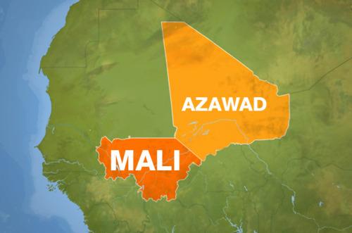 Mali eta Azawad, mapan kokatuta, bakoitzaren tamaina fisikoa argiago ikusteko.