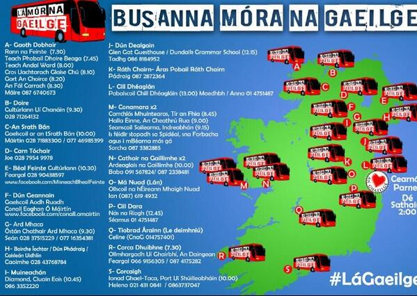 Autobusak Irlanda osotik.