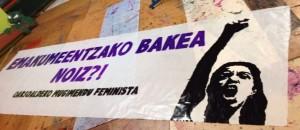 Oarsoaldeko mugimendu feministaren pankarta