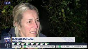 Isabelle Duflocq Parisko Vaux-le-Pénileko errauskailuak kaltetua, telebista bati hartutako irudian.